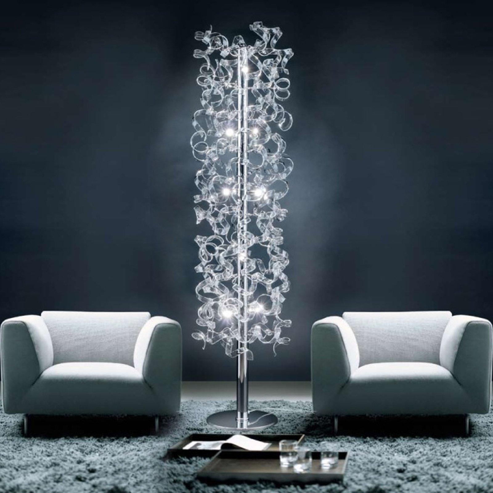 Gulvlampe Crystal med pyntet rør