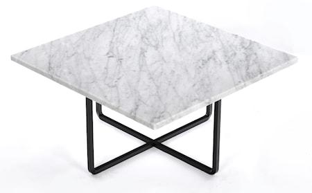 Ninety 60x60 soffbord - Carrara/svartlackerad metallstomme