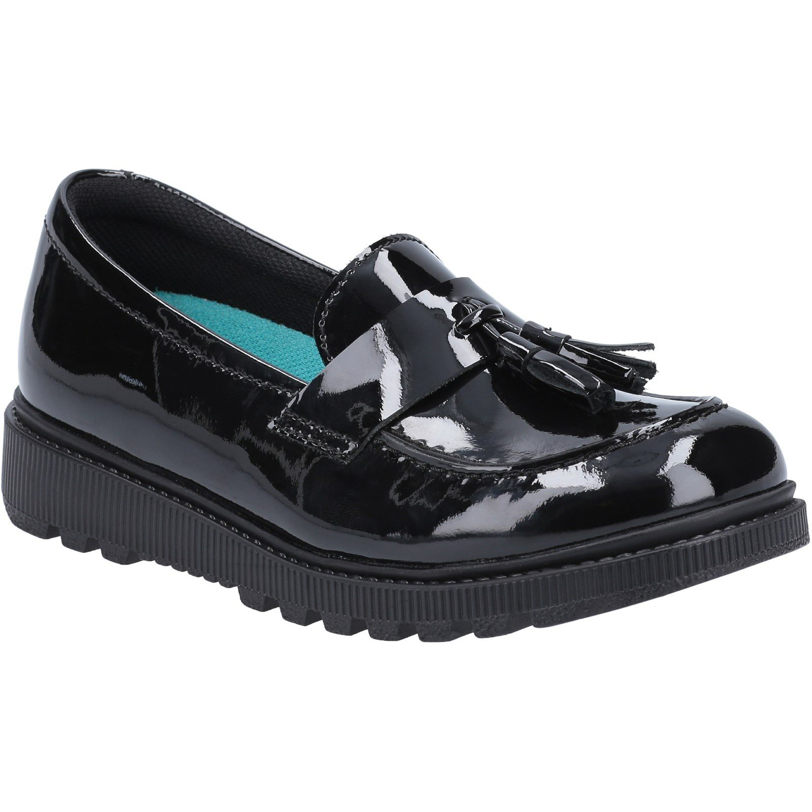 Hush Puppies Kid's Karen Junior School Shoe Patent Black 30827 - Patent Black 12