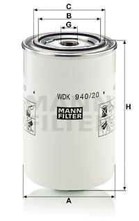 Polttoainesuodatin MANN-FILTER WDK 940/20