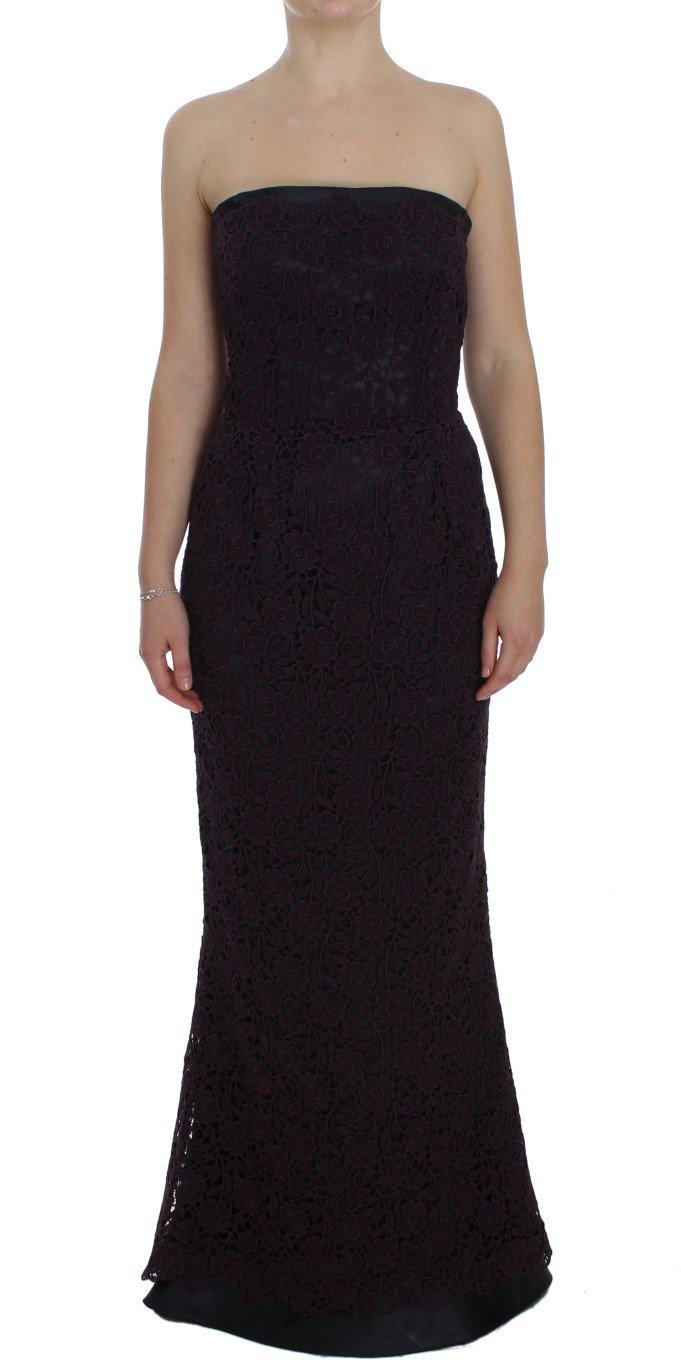 Dolce & Gabbana Women's Floral Ricamo Long Sheath Dress Purple NOC10125 - IT40 S
