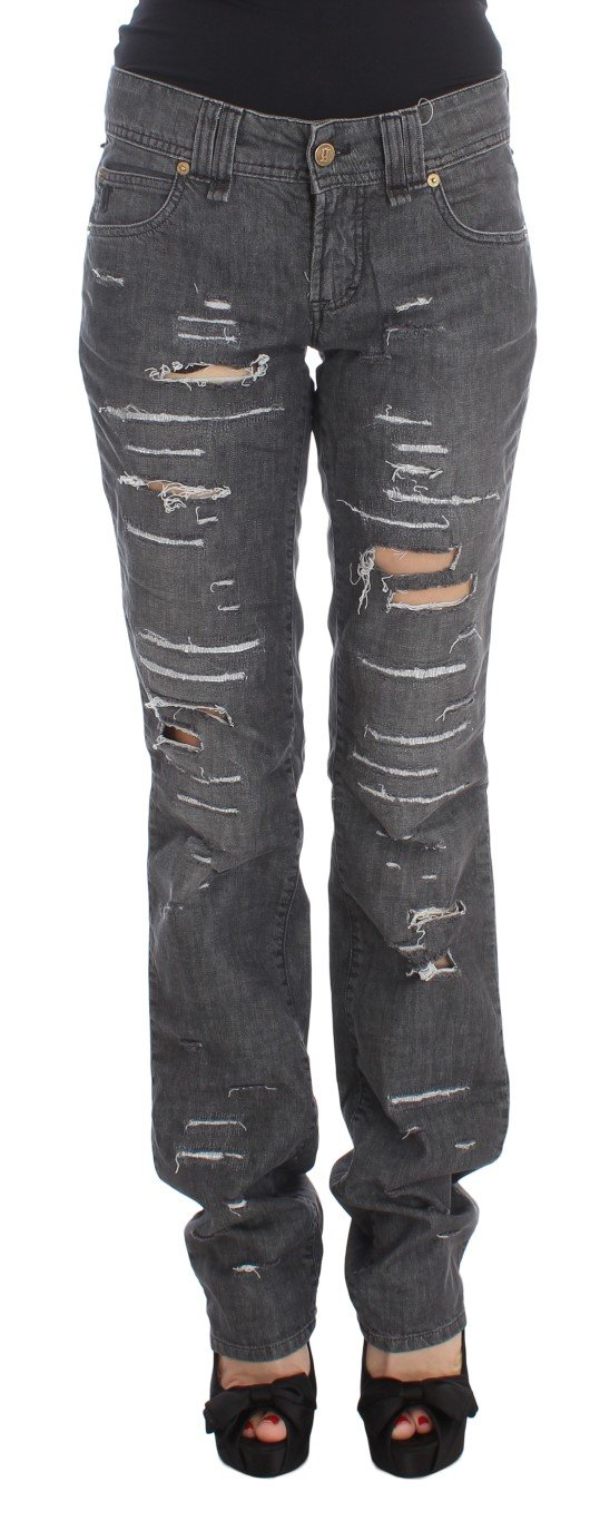 John Galliano Women's Cotton Torn Straight Fit Jeans Gray SIG30241 - W26