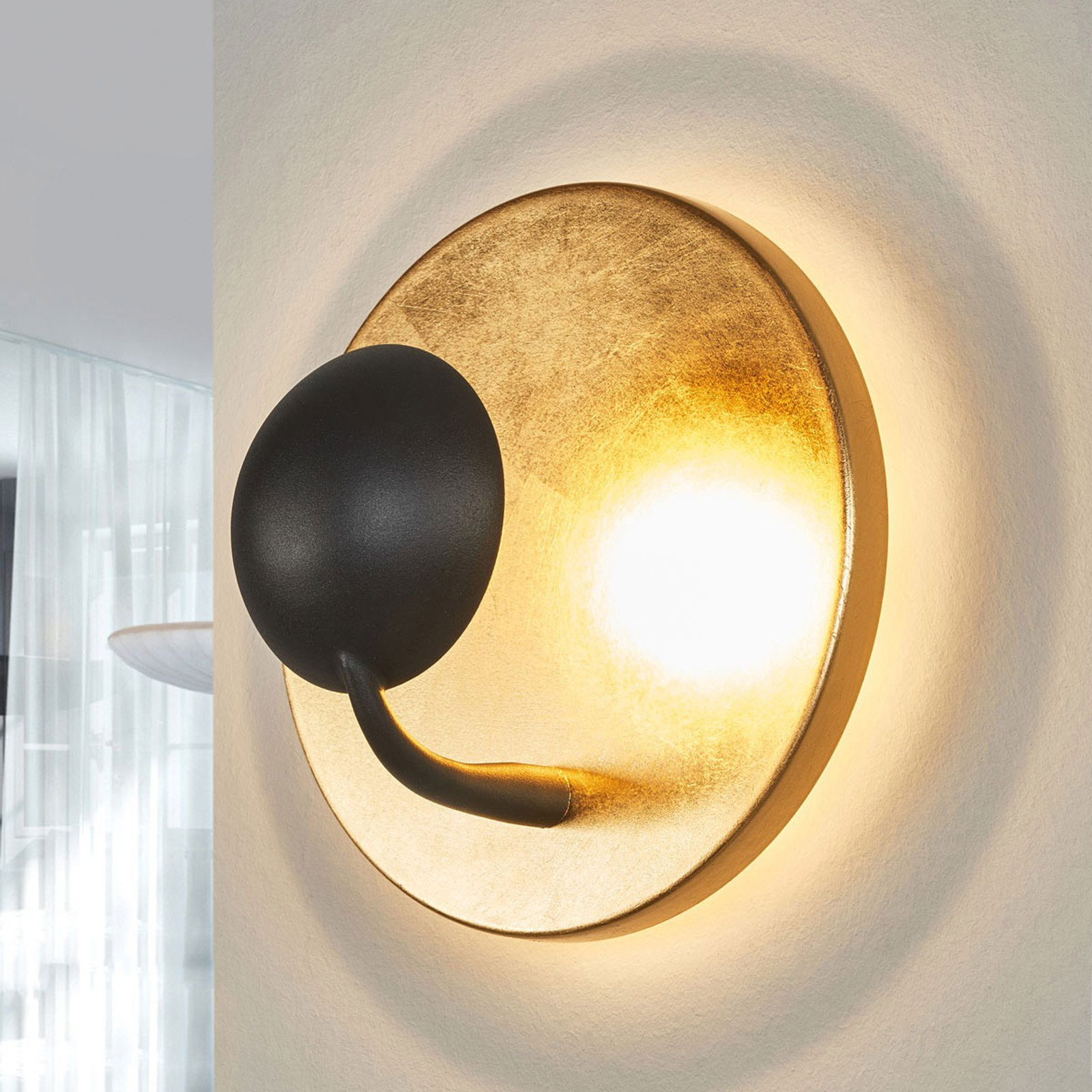 Ekstravagante LED-vegglampe Aurora svart-gull