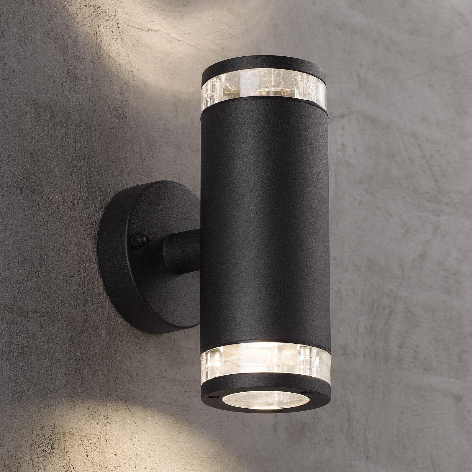 Utendørs vegglampe Birk, 2 lyskilder, svart