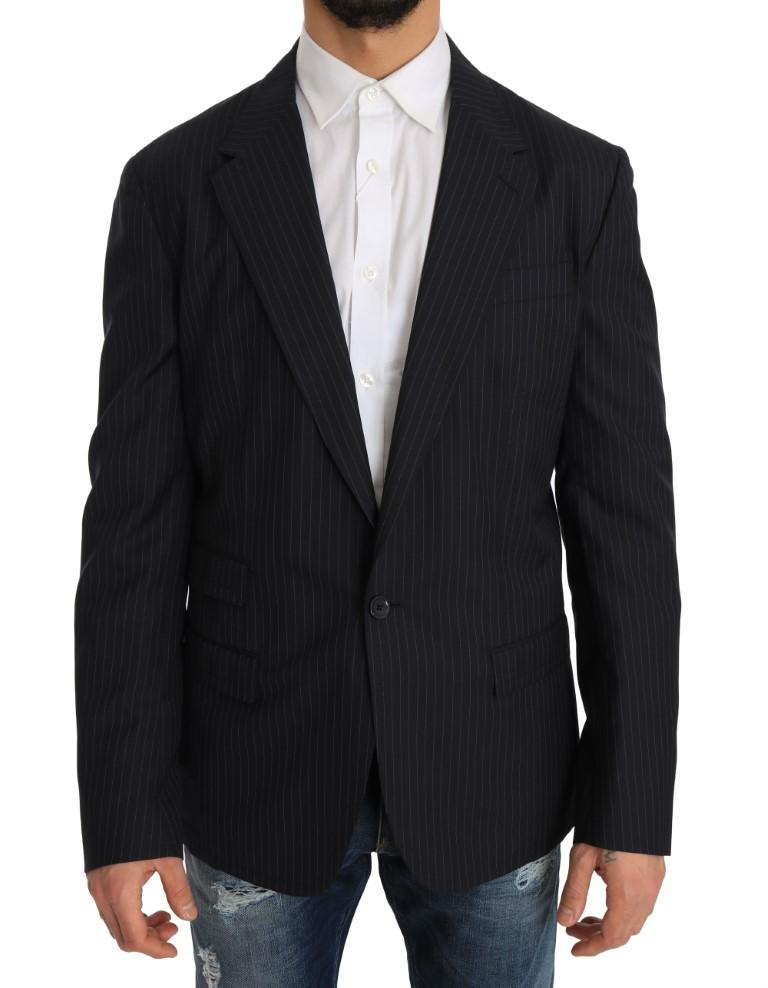 Dolce & Gabbana Men's Striped Wool Coat Slim Blazer Gray JKT1220 - IT50 | L