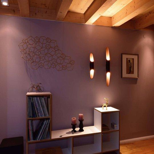 Apodis LED-vegglampe, 50 cm roségull/svart