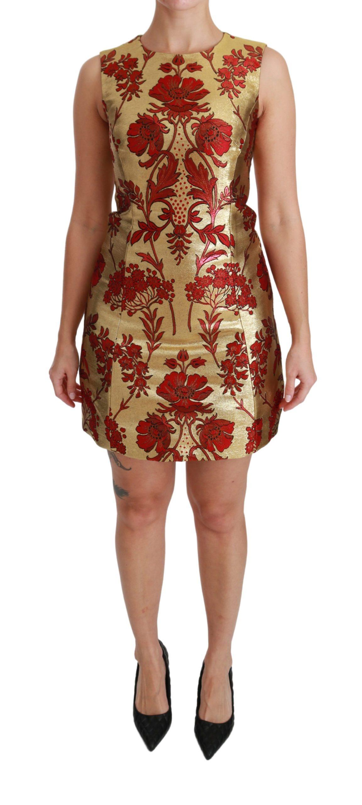 Dolce & Gabbana Women's Lurex Jacquard Midi Slim Dress Gold DR2493 - IT36   XS