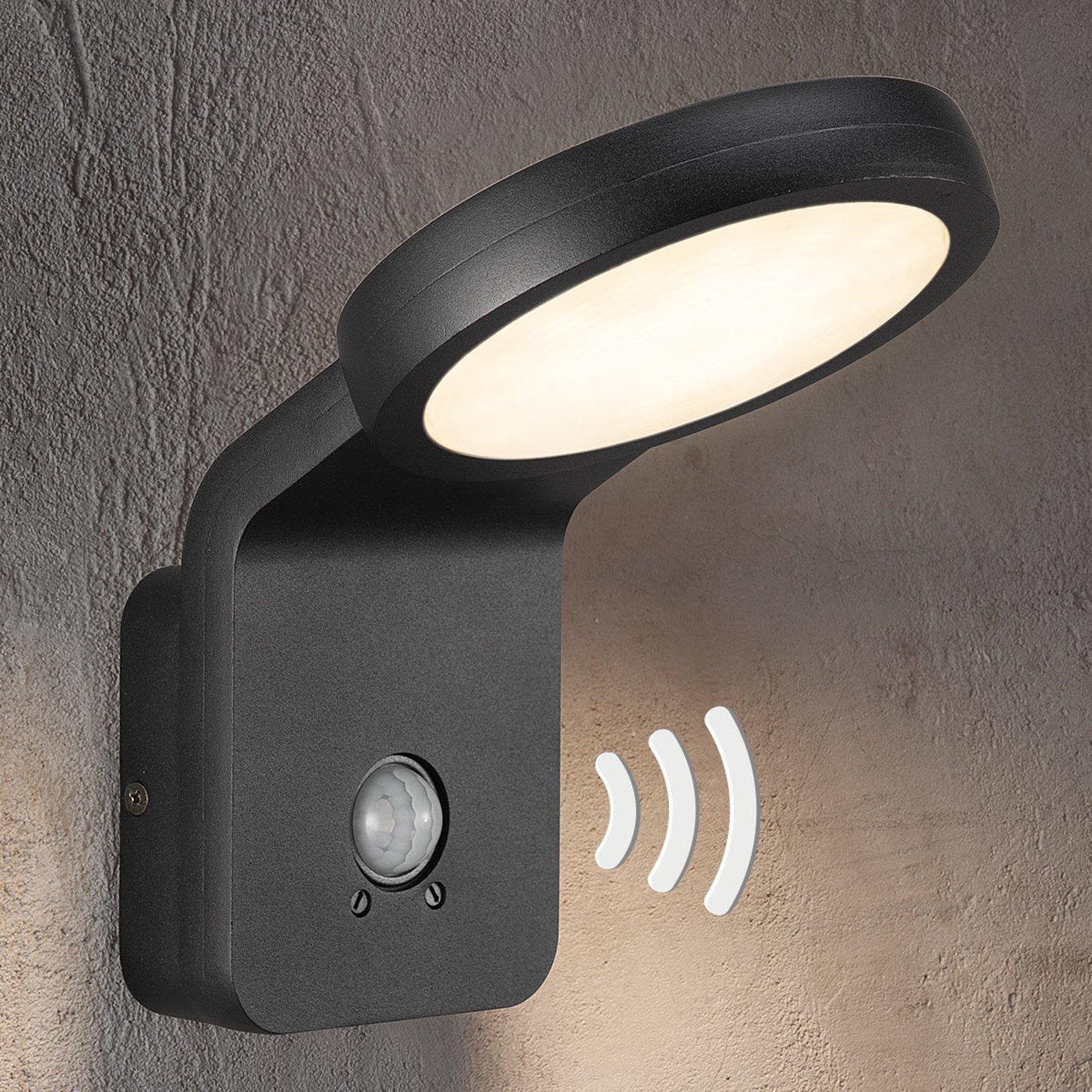 Utendørs LED-vegglampe Marina med IR-sensor svart