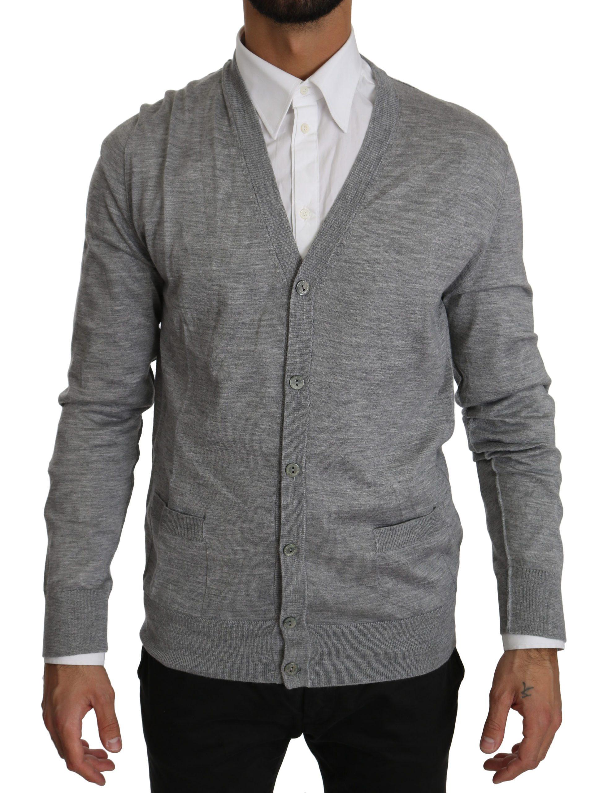 Dolce & Gabbana Men's Button Down Cashmere Cardigan Gray TSH4031 - IT50 | L