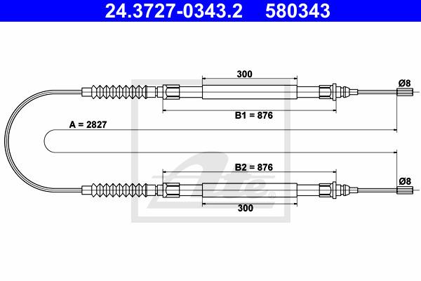 Käsijarruvaijeri ATE 24.3727-0343.2