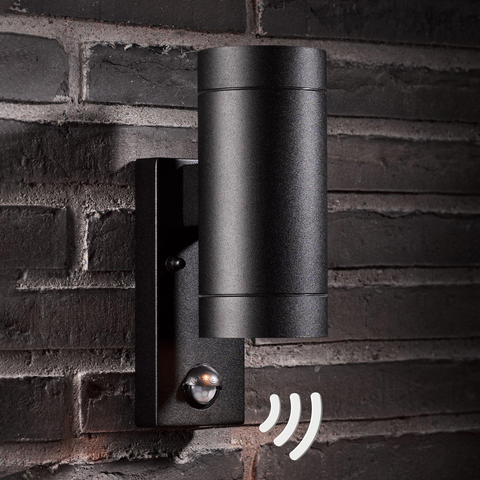 Utendørs vegglampe Tin Maxi Double Seonsor, svart