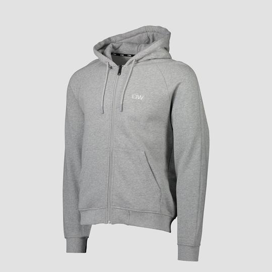 Essential Zipper Hoodie, Light Grey