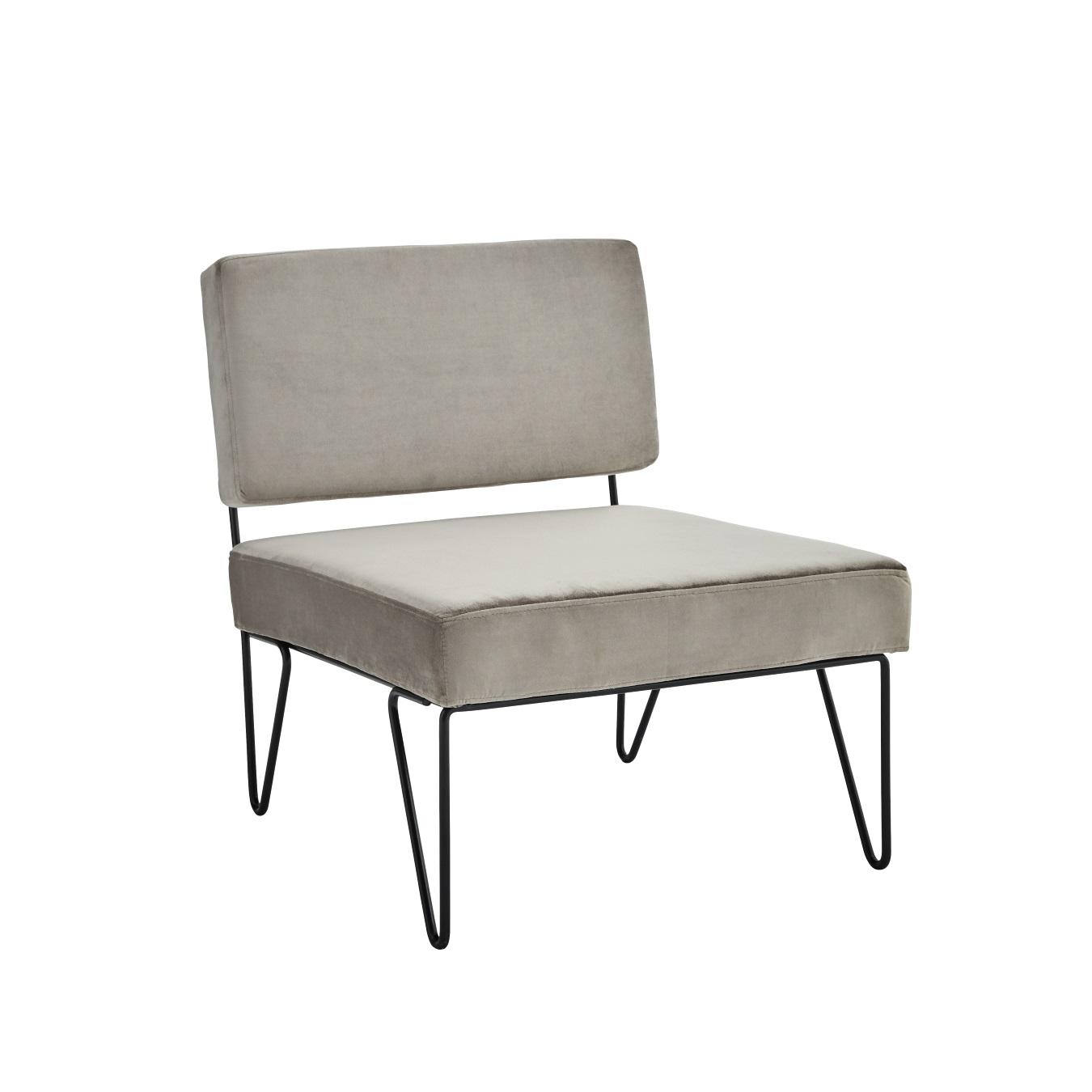 Lounge stol sammet grå, Madam Stoltz