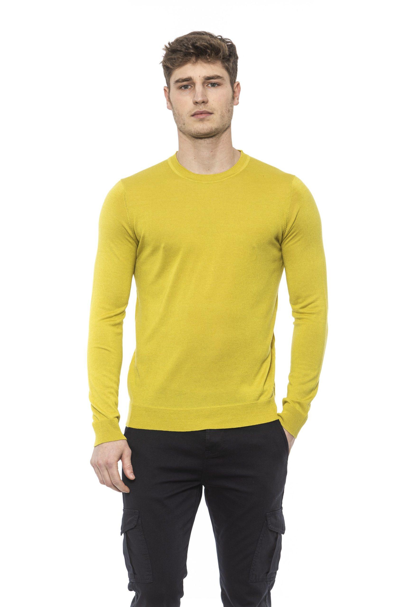 Alpha Studio Men's Bamboo Sweater Yellow AL1374547 - IT48   M
