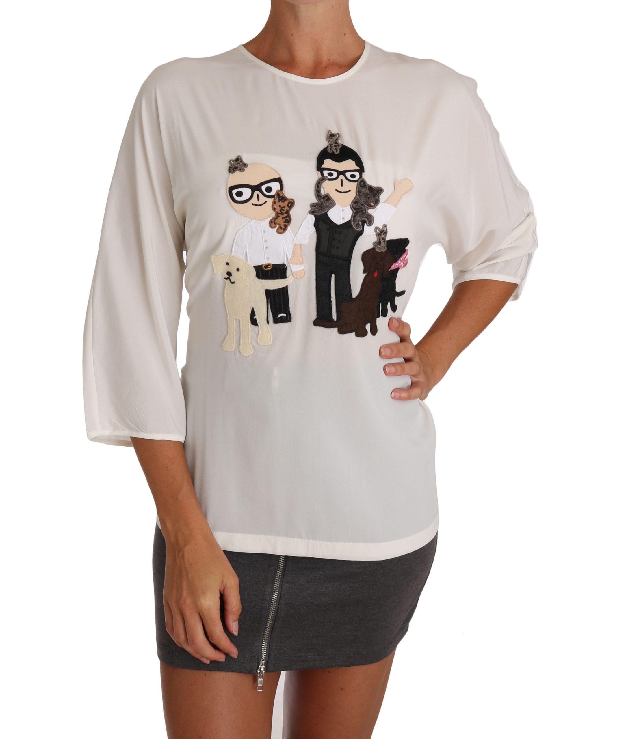 Dolce & Gabbana Women's Silk Crewneck T-Shirts White TSH2672 - IT36 | XS