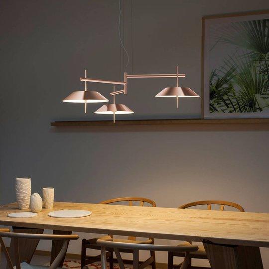 Mayfair kobberfarget LED pendellampe, 3 lyskilder