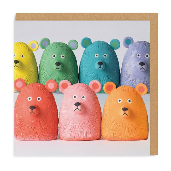 Rainbow Bears Square Greeting Card