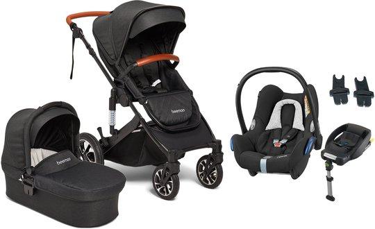 Beemoo Maxi 4 Duovogn Inkl. Maxi-Cosi Cabriofix Babybilstol + Base, Black/Black