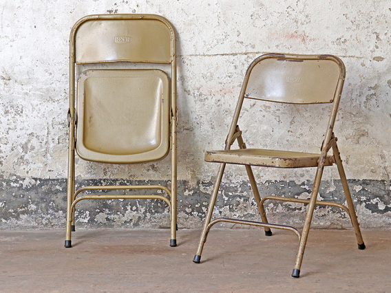 Metal Folding Vintage Chair - Cappuccino Cream