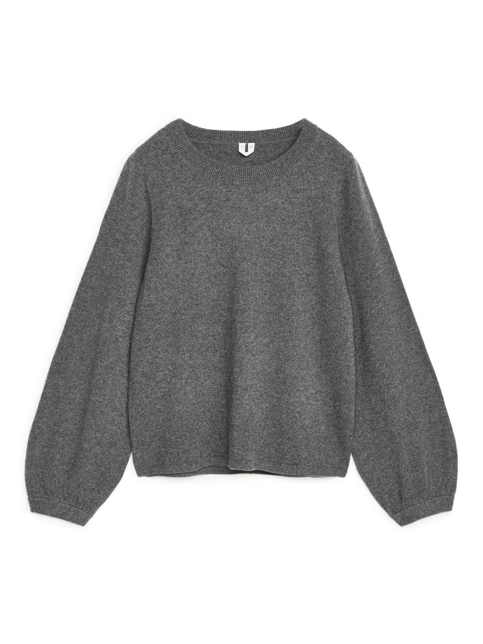 Bell Sleeve Cashmere Jumper - Grey