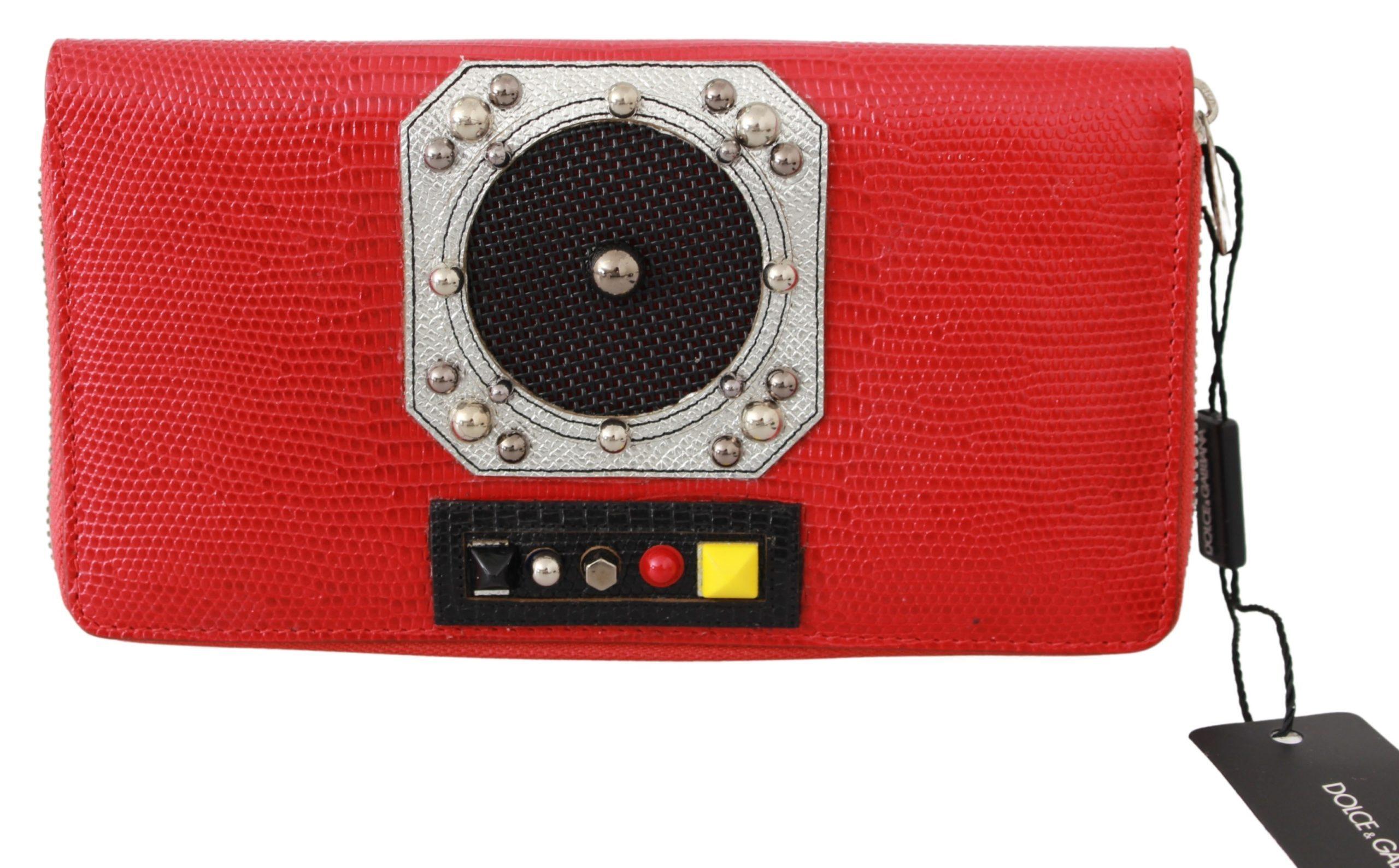 Dolce & Gabbana Women's Zippered Continental 100% Leather Clutch Wallet Red VAS9502