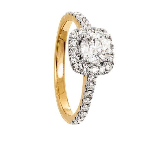 Diamantring i 18K guld, 15.0
