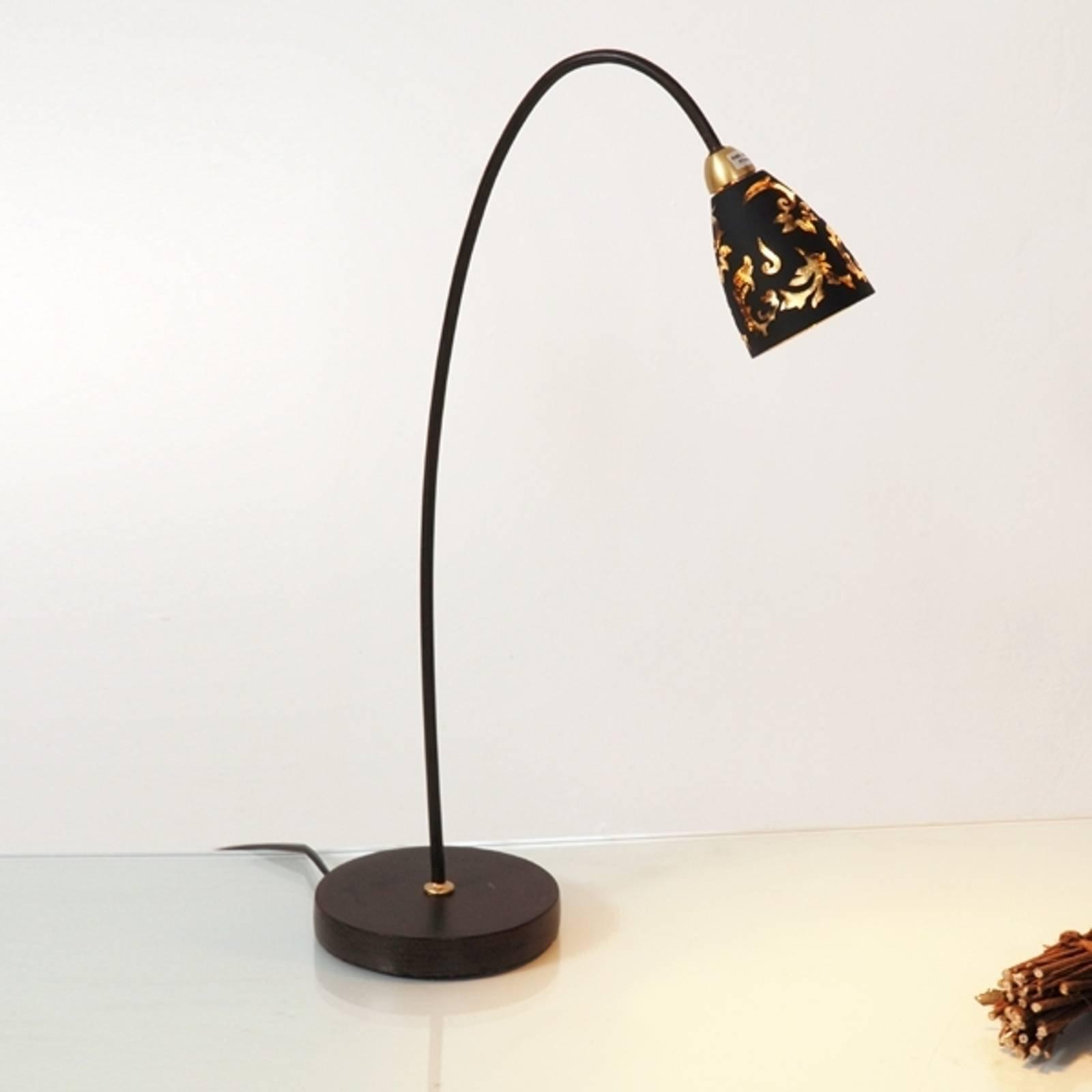 Verdifull bordlampe Alice, skjerm svart gull