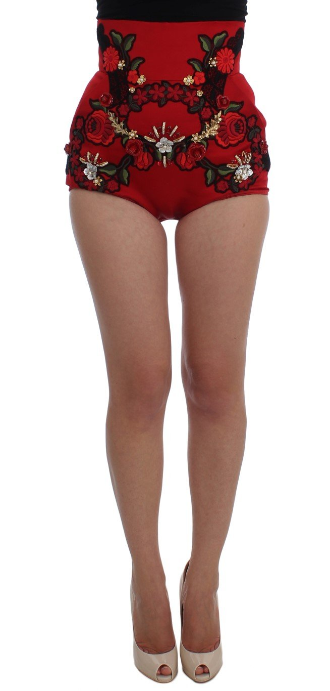 Dolce & Gabbana Women's Silk Crystal Roses Shorts Red SIG20117 - IT40 S
