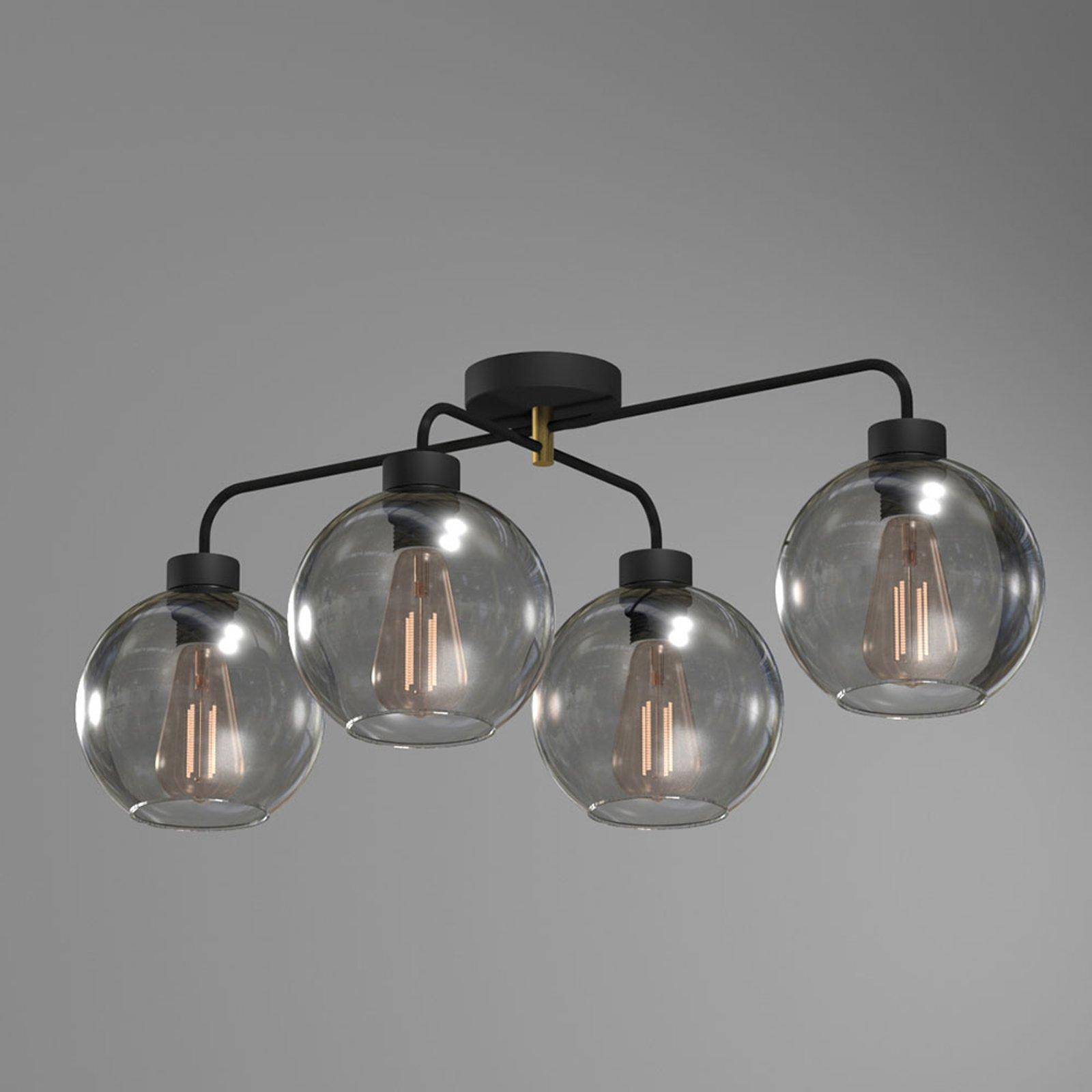 Taklampe Bari av glass, fire lyskilder