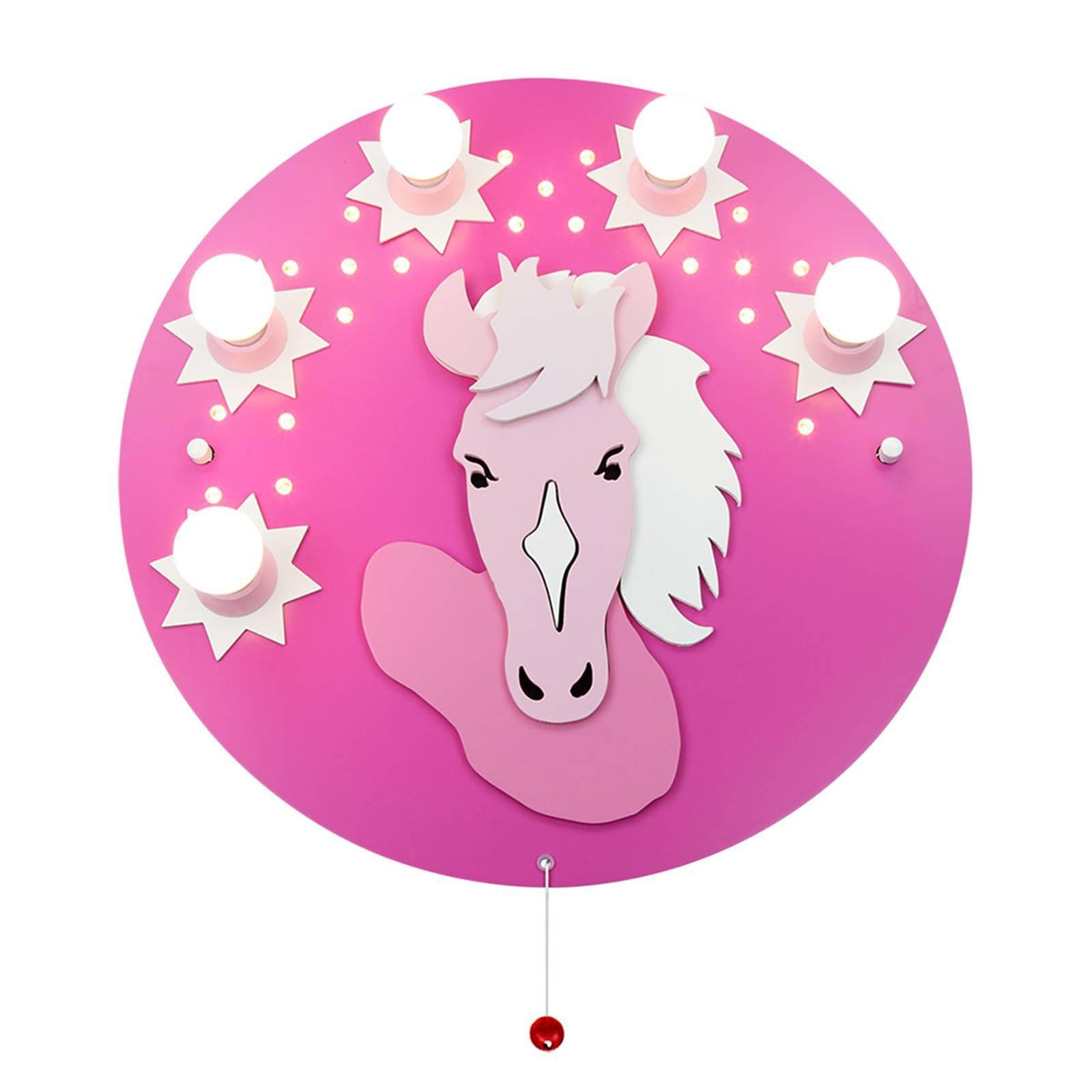 Taklampe Pony i rosa, 5 lyskilder