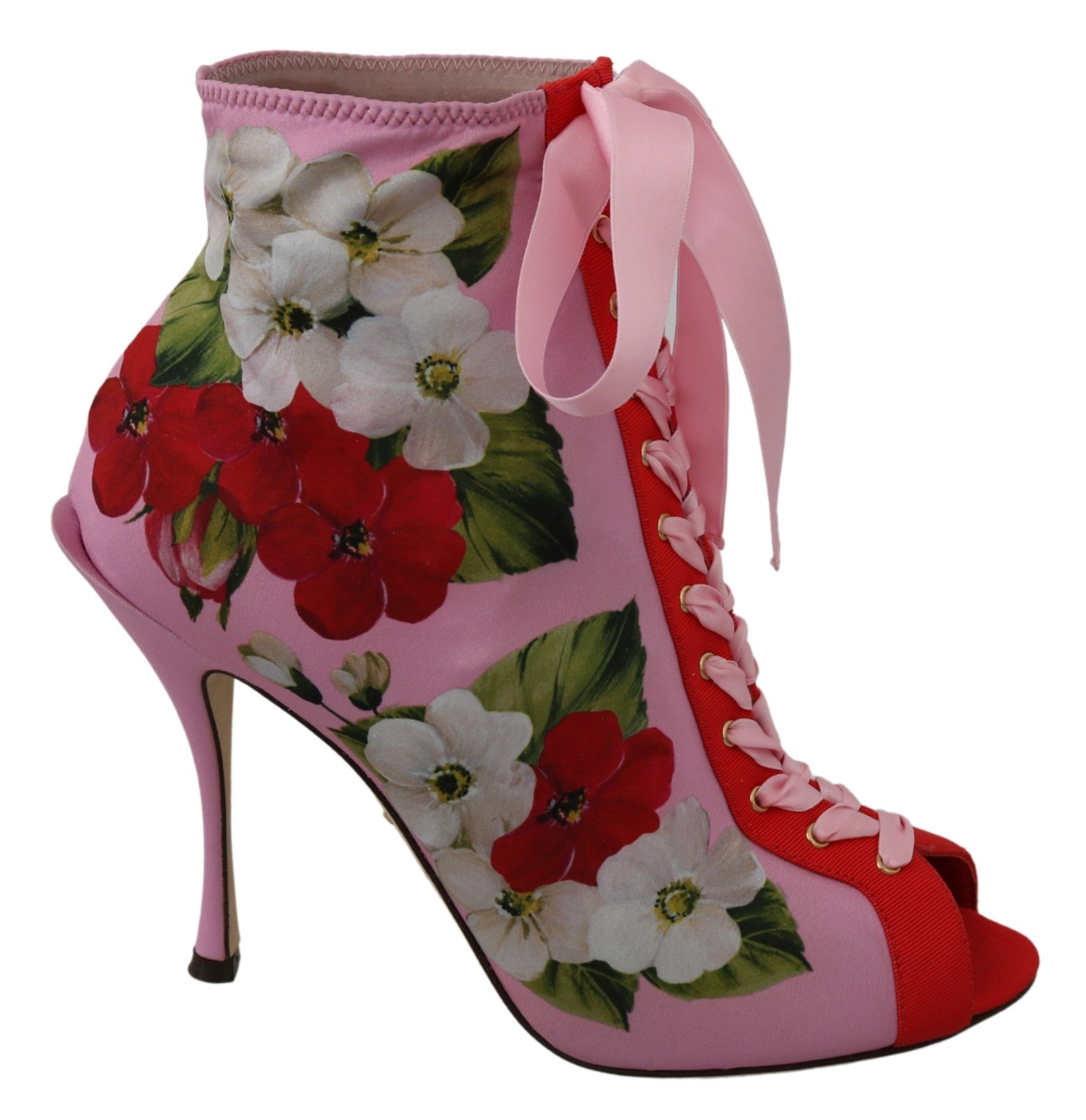 Pink Floral Jersey Stretch Open Toe Boots Shoes - EU39/US8.5