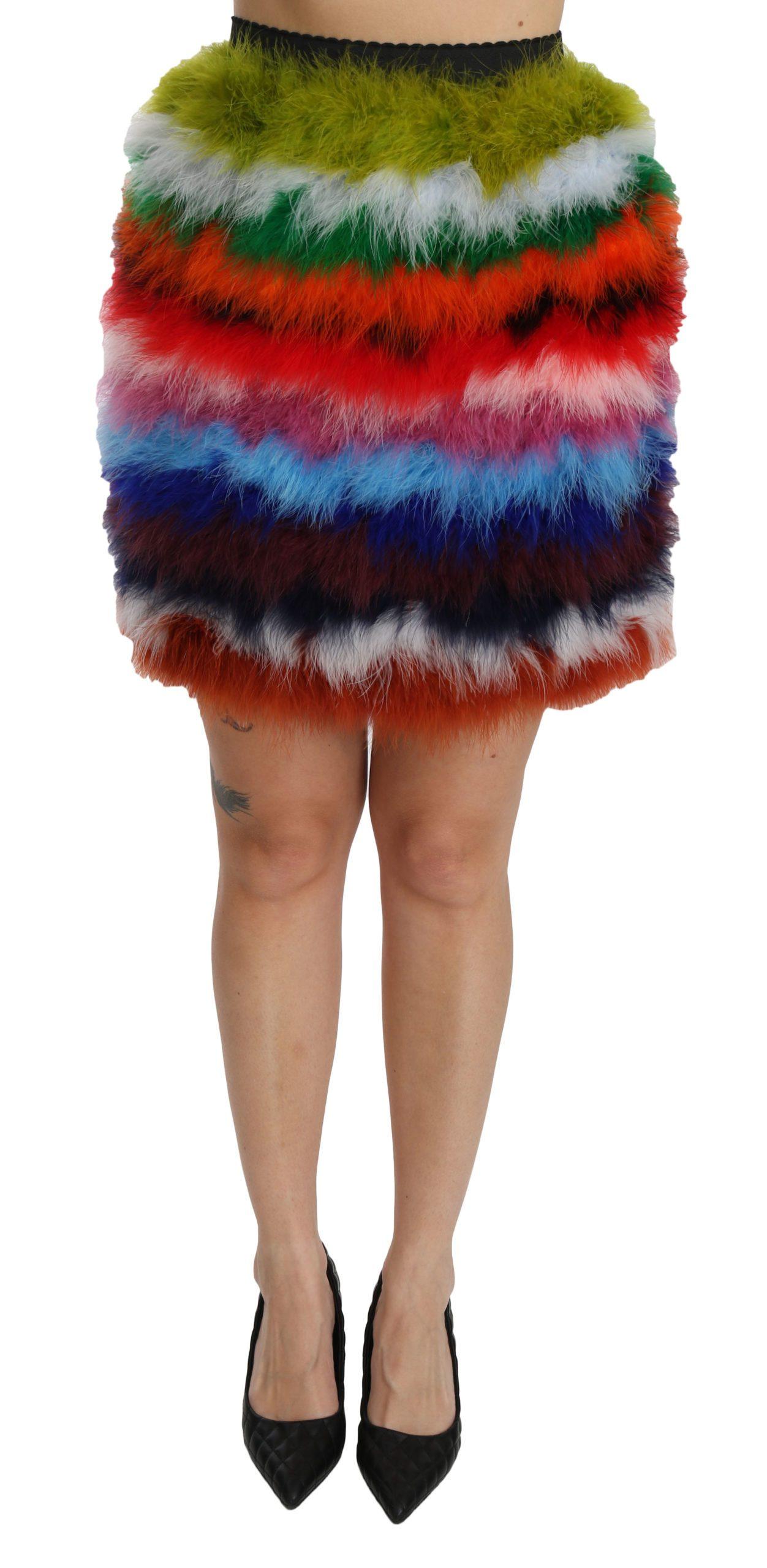 Dolce & Gabbana Women's High Waist Mini Feather Skirt Multicolor SKI1356 - IT36 | XS