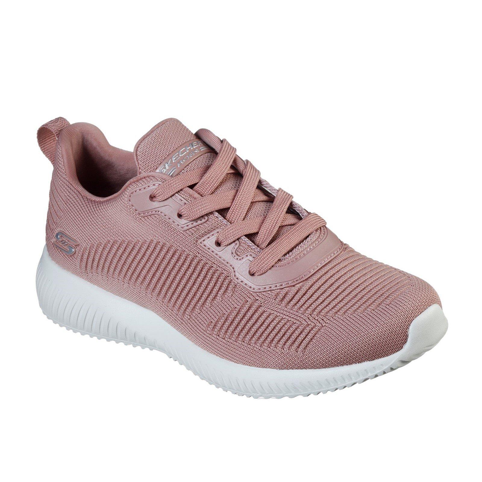 Skechers Women's Bobs Squad Tough Talk Wide Trainer Various Colours 33062 - Pink 7