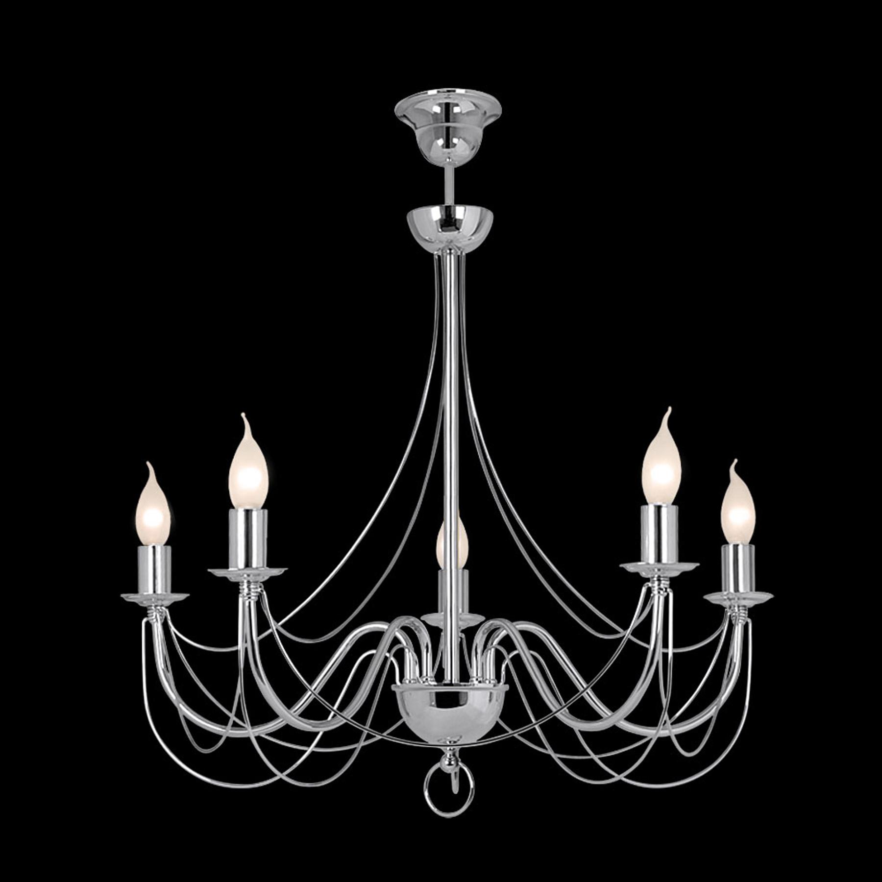 Kattokruunu Retro, 5-lamppuinen 75 cm, kromi