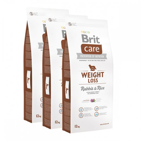 Brit Care Dog Adult Weight Loss Rabbit & Rice 3x12 kg