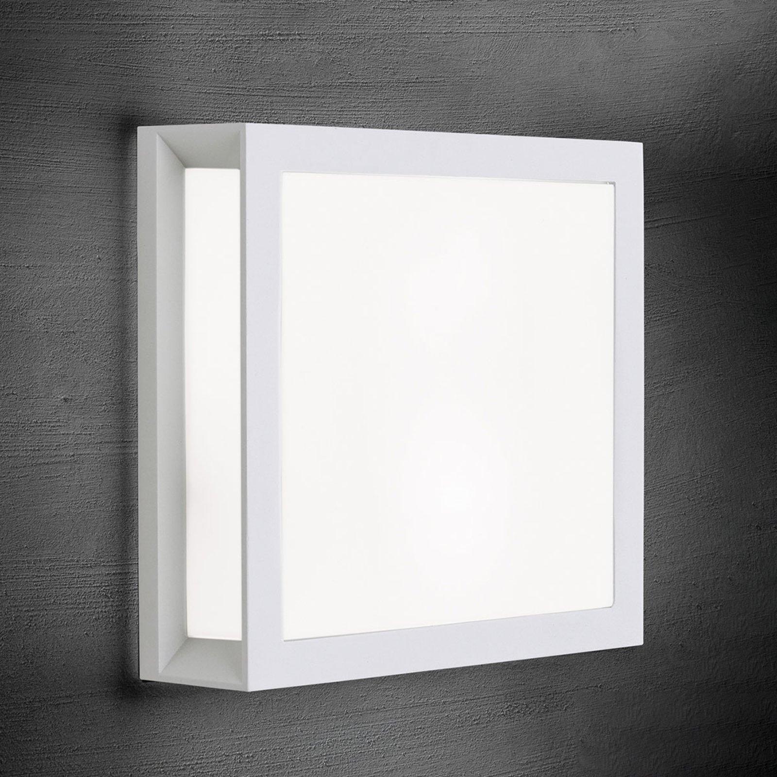 Henry - kvadratisk utendørs vegglampe i hvitt