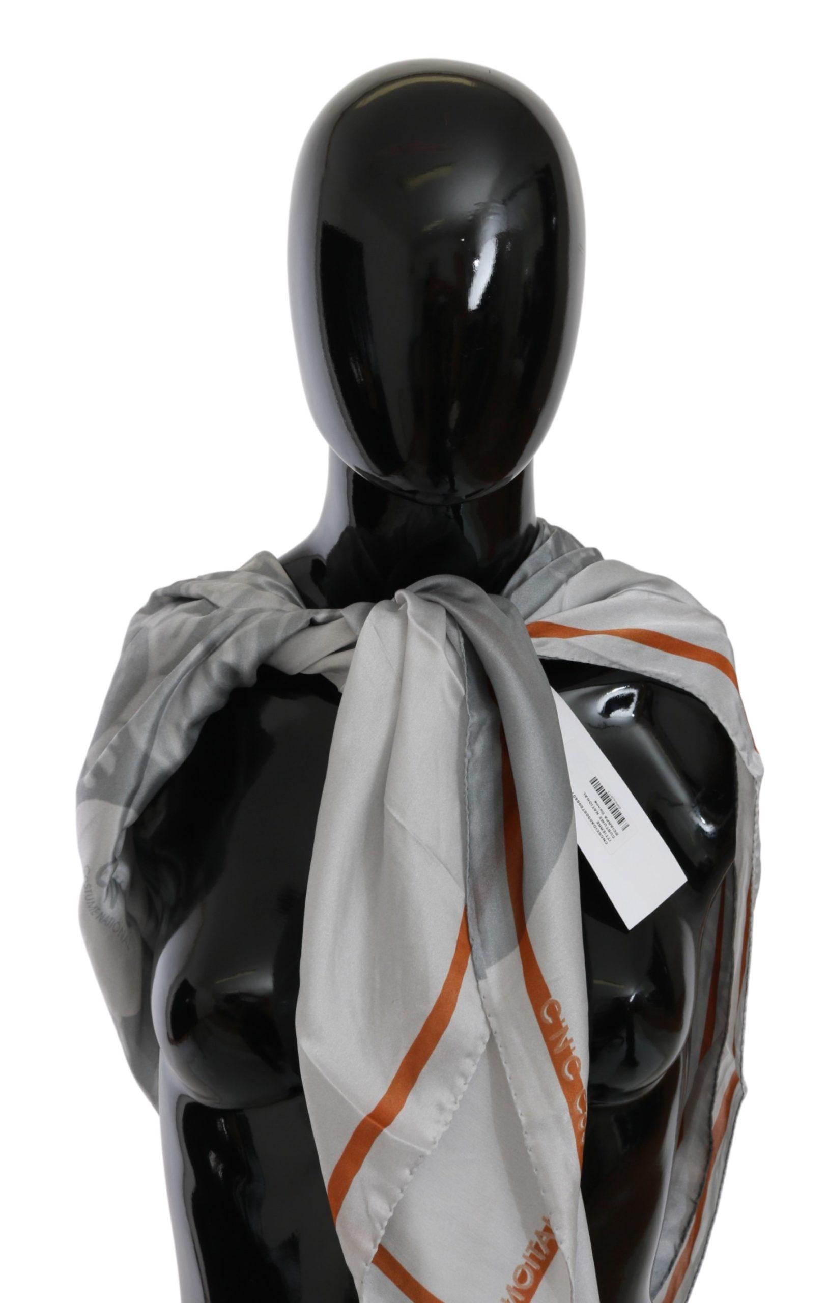 Costume National Women's Silk Floral Foulard Wrap Scarf Gray BGMS1643