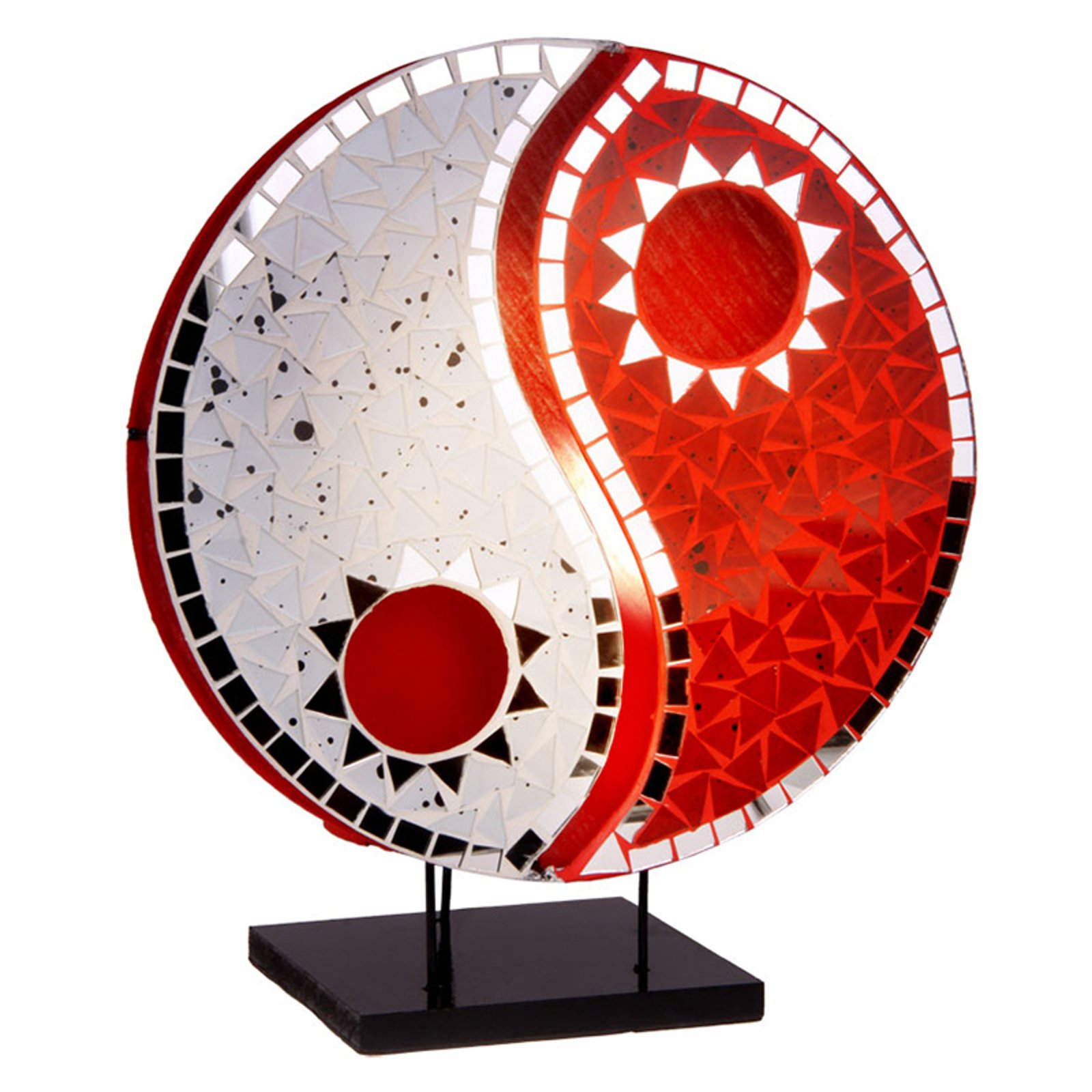 Bordlampe Ying Yang med mosaiske speilsteiner, rød