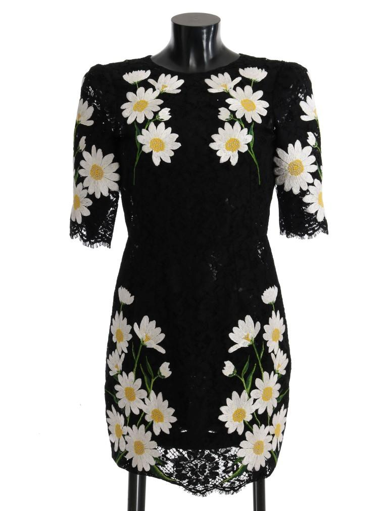 Dolce & Gabbana Women's Floral Lace Chamomile Sicily Dress Black SIG60665 - IT36|XXS