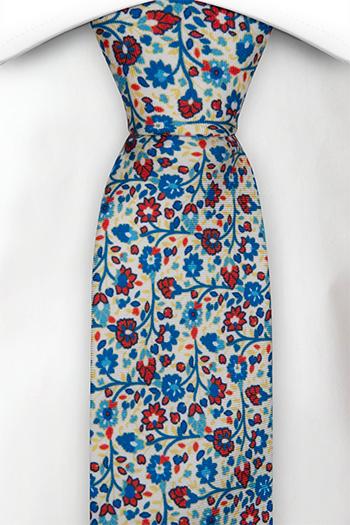 Silke Smale Slips, Små blå & røde blomster på hvit base, Hvit, Blomster