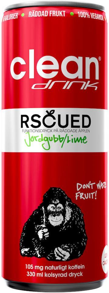 Rscued by Clean - Jordgubb/Lime 330ml