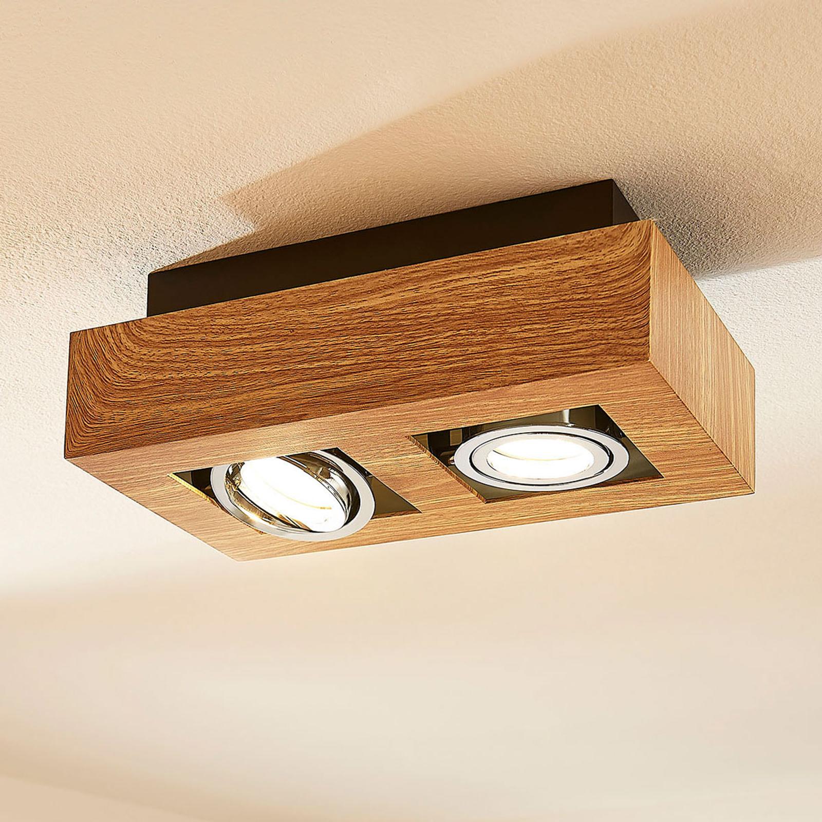 LED-kattolamppu Vince, 25 x 14 cm puuta