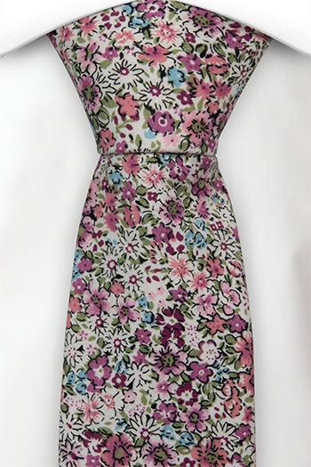 Bomull Slips, Rosa, hvite, lilla og blå blomster over det hele, Hvit, Blomstrete