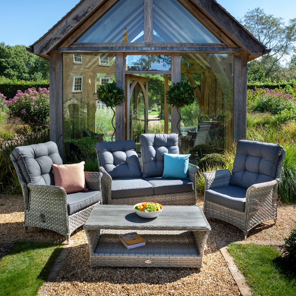 2021 Hartman Heritage 2-Seat Reclining Sofa Set With Armchairs & Tuscan Coffee Table - Ash/Slate