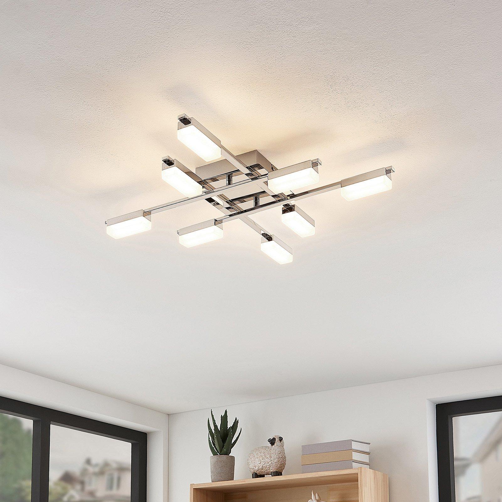 Lindby Mally LED-taklampe i krom, 8 lyskilder