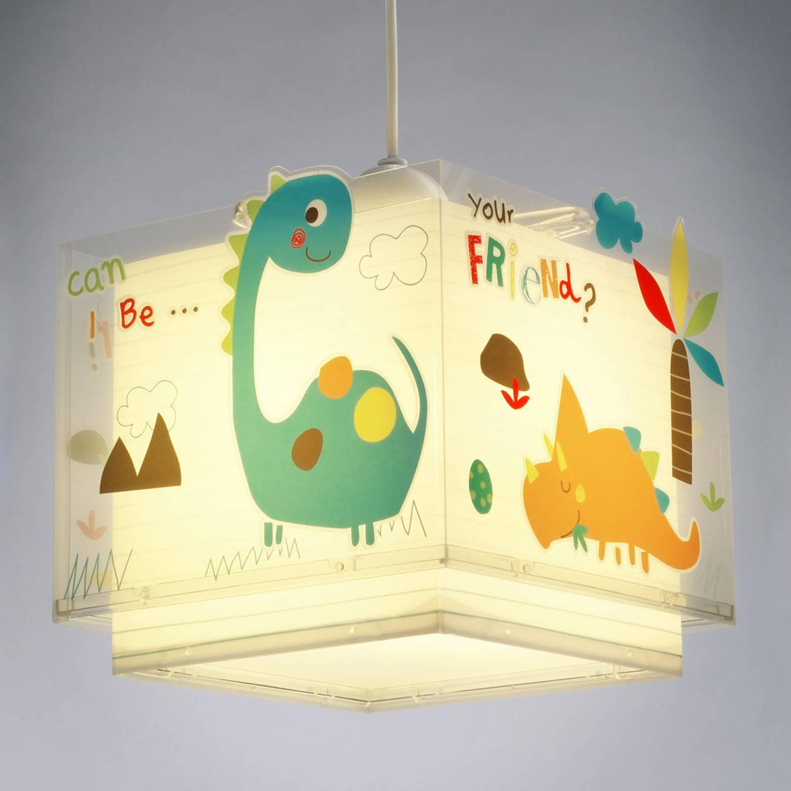 Värikäs lastenhuoneen riippuvalaisin Dinos