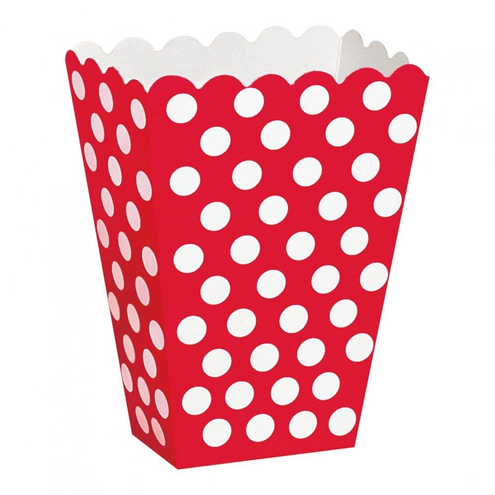 Popcornbägare Röd Prickiga - 8-pack