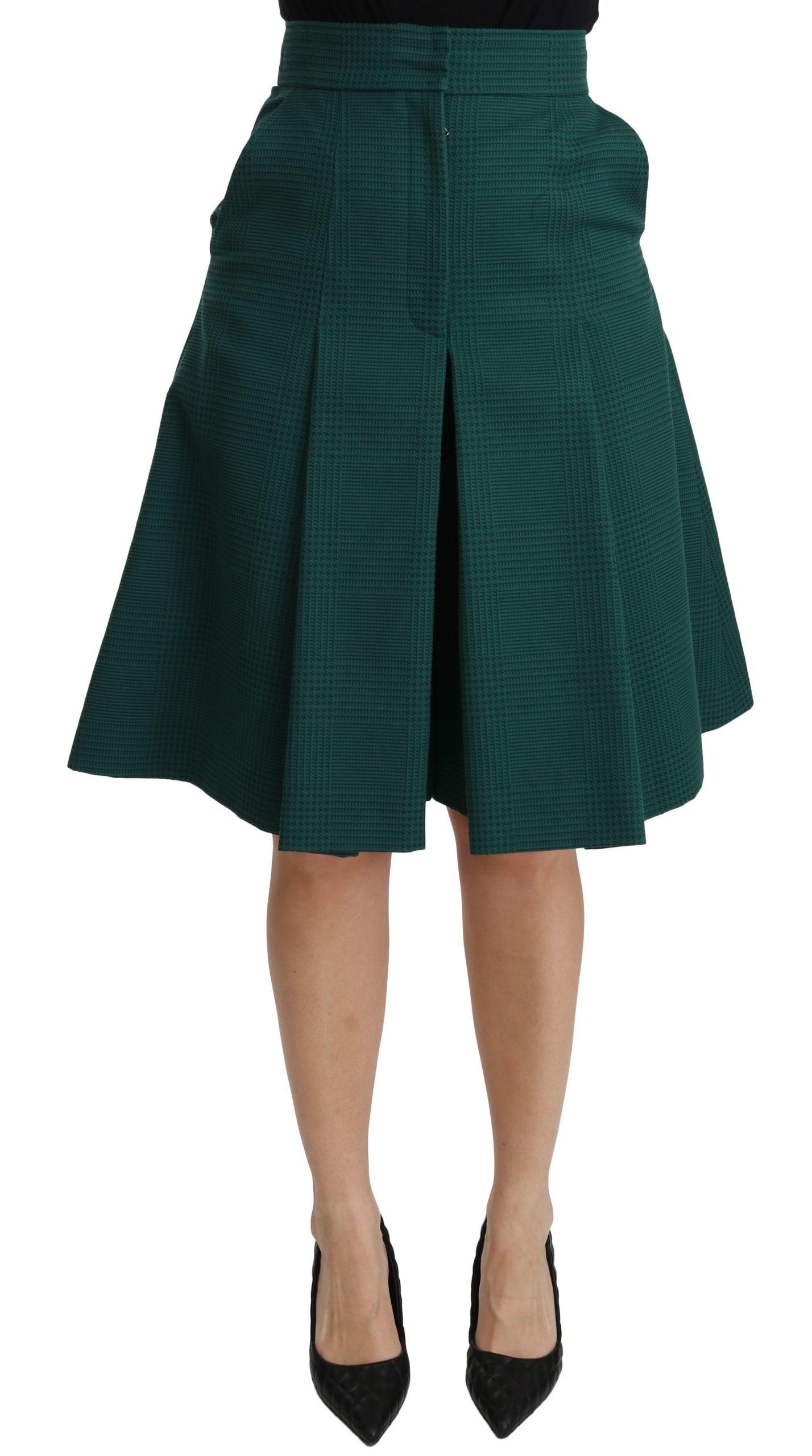 Dolce & Gabbana Women's Pleated A-line High Waist Cotton Skirt Green SKI1376 - IT40 S
