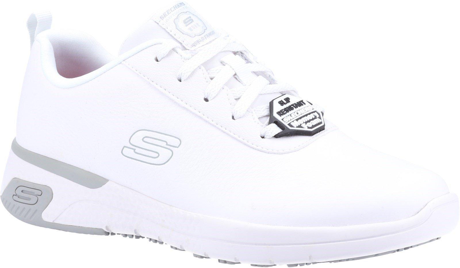 Skechers Women's Marsing Gmina Slip Resistant Trainer Various Colours 32618 - White 3