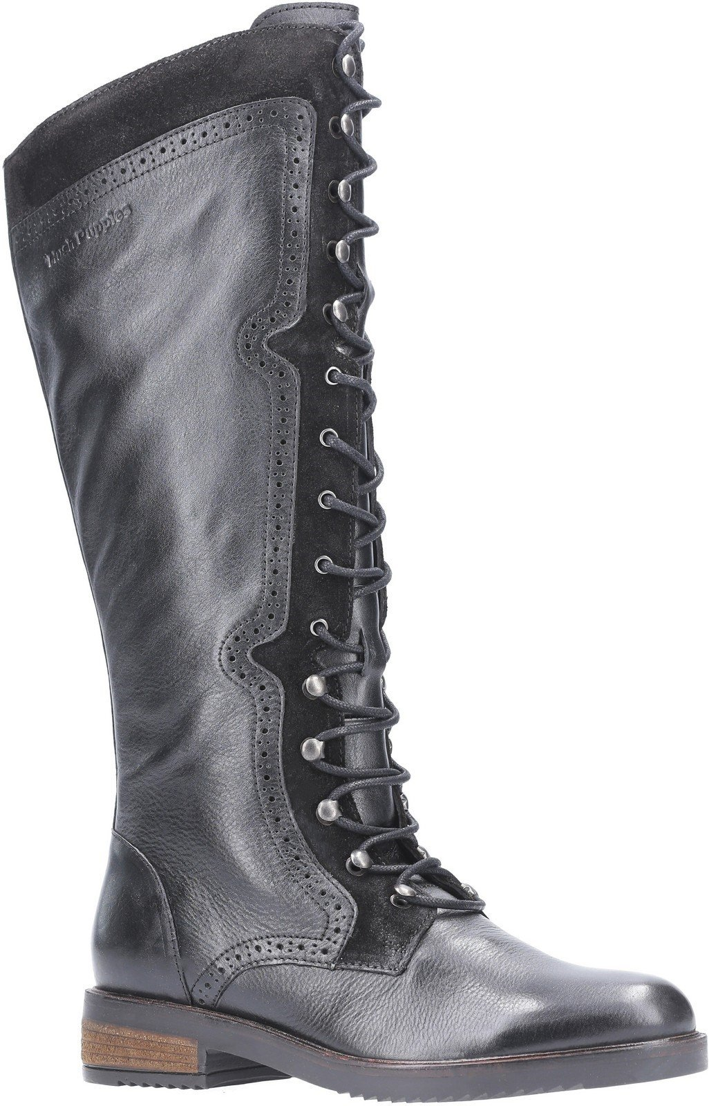 Hush Puppies Women's Rudy Zip Up Lace Up Long Boot Various Colours 29203 - Black 3